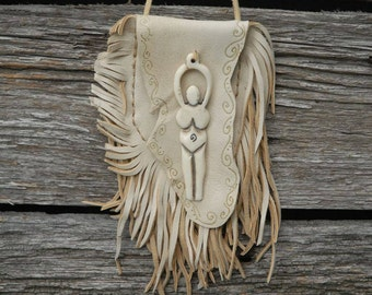 Goddess Pouch - Leather Pouch - Divine Feminine. Female Power Pouch