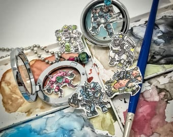 Overwatch Tanks - Hand-painted watercolor locket charms