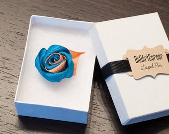 Rose Lapel Pin / Rose Boutonniere / lapel pin flower / Men's Lapel Pin / Oasis and Old Gold Rose Lapel Pin / lapel pins men