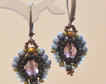 Retro earrings in Amethyst, olive and blue glass beads