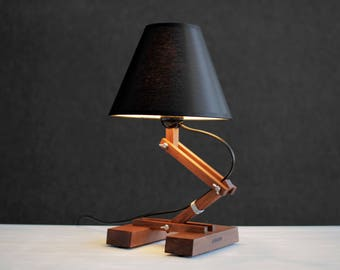 wood lamp industrial table lamp bedside lamp modern table lamp pair of
