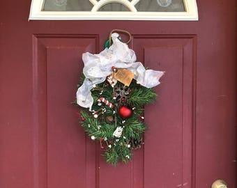 Primitive Christmas Wreath with Silver Bow and Snowman Decorations, Christmas Door Wreath