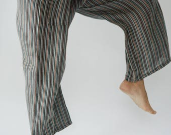 HW0013 Handwoven Cotton Fisherman Pants Wide Leg pants, Wrap pants, Unisex pants