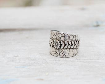 Sterling Fern Statement Ring. Sterling Fern .  Handmade  . Rustic . Earthy . Boho . Hand Stamped .  Ring