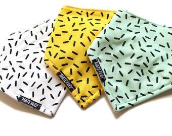 Baby bib, HAND PRINTED,  Confetti, modern stripes,  black and white, modern baby, geometric, drool bib, bibdana, minimalist toddler scarf