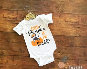 Cutest Pumpkin in the Patch baby bodysuit, Zebra Pumpkin bodysuit, Fall baby outfit, halloween outfit, thanksgiving baby outfit