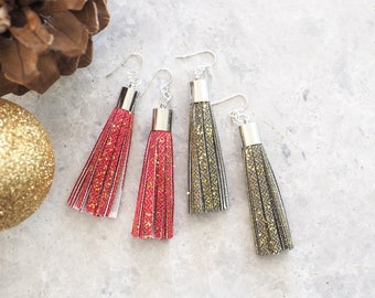 Sparkly Tassel Earrings, Fabric Jewelry, Green and Gold Sparkle Earrings, Festive Jewelry, Gift for Her