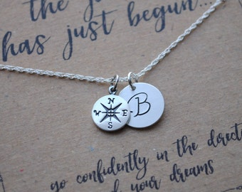 Compass Graduation Necklace . Graduation Gift . The Journey Has Just Begun Necklace  .  inspirational necklace