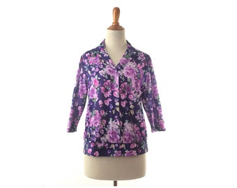 1970s top  polyester shirt floral blouse purple polyester top 1970s costume 70s costume vintage 1970s clothing 70s clothing women's clothing