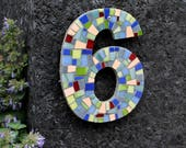 Modern Mosaic House Numbers in Blues, Yellow, Orange, Green, Grey and Red Stained Glass Tiles