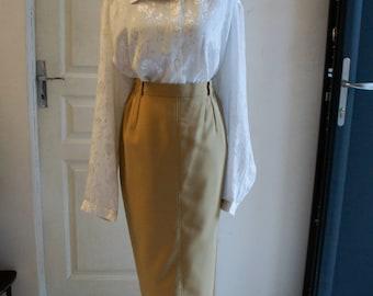 straight skirt style beige 1940