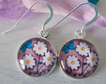 Pink Earrings, Daisy Earrings, Bridal Earrings, Art Earrings, Sterling Silver Earwires, Floral Earrings, Turquoise Butterfly, Dangle Earring