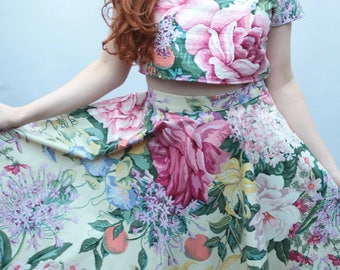 Floral two piece, matching set, matching two piece, coordinates, floral cotton circle skirt coords handmade by The Emperor's Old Clothes