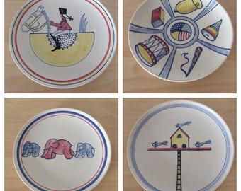 Set of 4 Vintage Hedwig Bollhagen Ceramic Plates