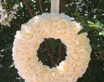 Wedding Wreath|Wedding Decor|Fall Wreath|Floral Wreath|Brides Wreath|Floral Decor|Ivory Wreath|Champagne Wreath|Wedding Flowers