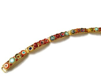 Millefiori Micro Mosaic Bracelet /Italian  Micromosaic link Bracelet/ Red Gold Tone Medallion  Bracelet / Yellow Flowers Roped Bezels