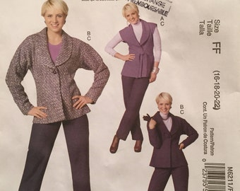 McCall's Palmer and Pletsch Lined Vest with Collar, Jacket, Pants and Belt Size 16-22 Pattern M6211