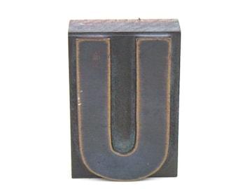 Letterpress Letter U / Vintage Wood Printing Type Block / Letterpress Printing Letter