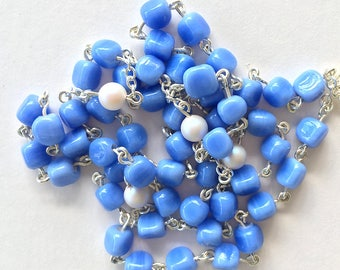 Blue & White Our Lady of Fatima Handmade Rosary