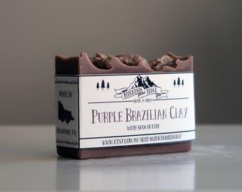 Purple Brazilian Clay Soap - Handmade Soap, Cold Process Soap, Palm Free Soap, Clay, Shea Butter