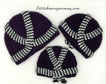 Hmong Purple Crochet Hat (Phuam Txoom Suab)