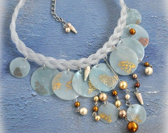 Mermaid's Tale Choker Necklace, Water Nymph Polymer Clay and Pearl OOAK Handmade Fantasy Jewelry