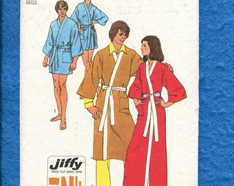 1973 Simplicity 5685 Kimono Sleeve Wrap Robe in Three Lengths  Size 10 UNCUT