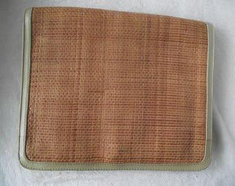 OTTORINO BOSSI ITALIAN Leather Passport Wallet,Travel Document Wallet Case,Woven Leather,Vintage Ottorino Bossi,Christopher Jill,