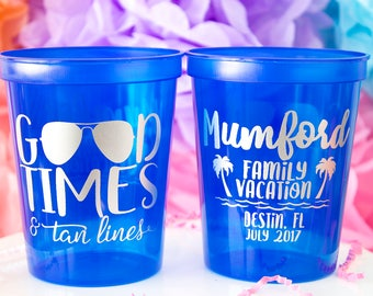 Family Vacation, Family Trip, Beach Trip, Party Cups, Stadium Cups, Bachelorette Party, Summer Trip, Beach Cup, Personalized Cups