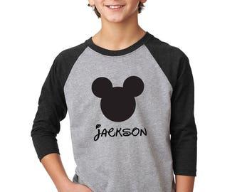 YOUTH Raglan Mickey Name or Monogram Shirt Custom Disney Vacation Monogrammed Shirt