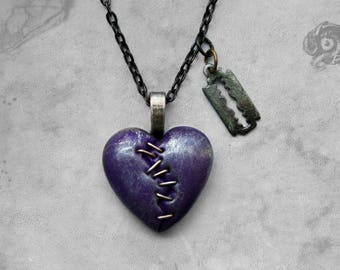 Loveheart & razor blade Gothic 'This Love' stapled necklace / Purple + silver heart + gunmetal chain / Macabre Horror Punk Goth jewelry gift