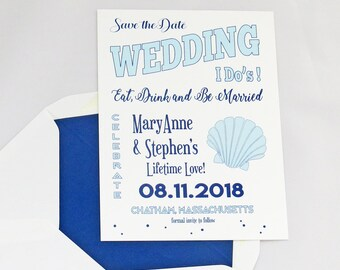 Coastal, Nautical, Shell, Scallop, Beach Wedding, Blue, Wedding, Scallop SAVE THE DATE, I Do's