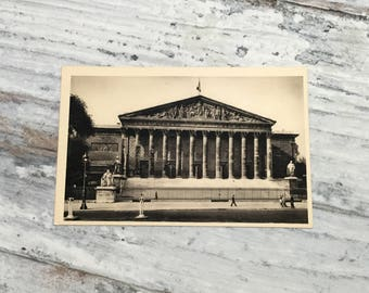 Vintage Paris Postcard . Palais Bourbon . French Vintage Postcard . Topographic Postcard France. Travel Postcards .