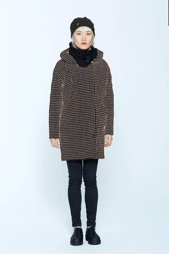 NORVÈGE - print & wool winter coat with hood for womens - black tweed