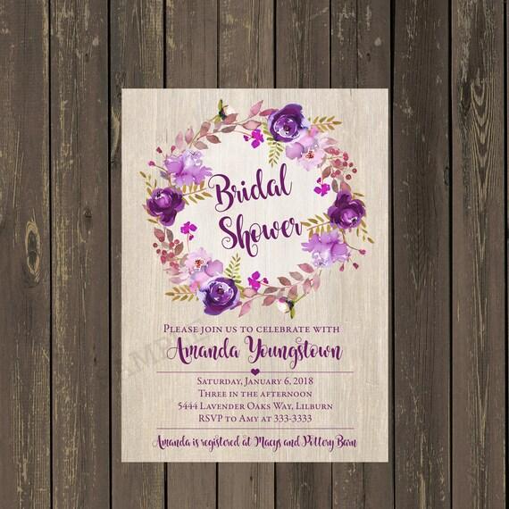Purple bridal shower invitation purple wreath watercolor bridal il570xn filmwisefo