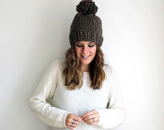 Chunky Knit Hat, Knitted Pom Hat, Slouchy Bobble Hat Barley- Pokomoke Hat