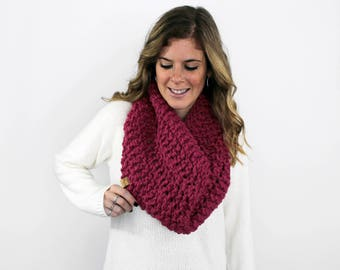 Scarf Knitted Chunky Cowl Raspberry- Anacostia Cowl