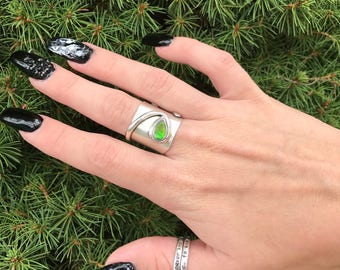 Ammolite Sterling Silver Ring, Size 6.75, Tear Drop, One Of A Kind