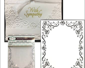 Ornate Rose Frame embossing folder by Sue Wilson embossing folders for use in universal machines such as Cuttlebug and  Big Shot