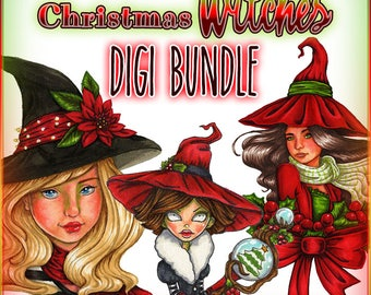 Christmas Witches Digi Bundle UNCOLORED Digital Stamp Image Adult Coloring Page jpeg png jpg Craft Cardmaking Papercrafting DIY