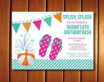 Flip Flop Invitation | Summer Party Inviations | Girls Birthday Invite