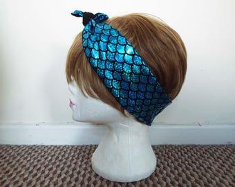 Mermaid Tail Scale Blue 50s Vintage Rockabilly Hair Scarf