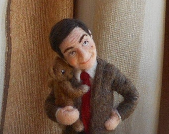 Felt partners Needle felted figurine Mr Bean Bear OOAK Caricature doll  Home decoration Ready to ship