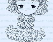 Bachelor's Buttons Sprite - Aurora Wings Digital Stamp - Cute Cornflower Fairy - Fantasy Line Art for Arts and Crafts by Mitzi Sato-Wiuff