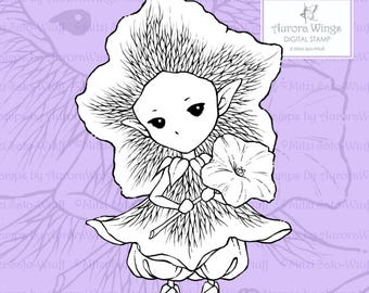 PNG Digital Stamp - Whimsical Petunia Sprite - Instant Download - digistamp - Fantasy Line Art for Cards & Crafts by Mitzi Sato-Wiuff