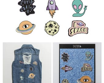 Outta This World Alien Space Embroidered Sticker Patch Set Spaced Out Collection
