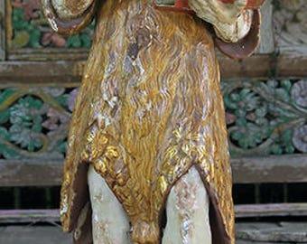 Antique St. John the Baptist Santo Carving, c. 1650, Spain