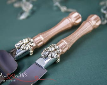 rose gold wedding cake knife and server wedding glasses candle set cake cutting set amp baskets by 19287
