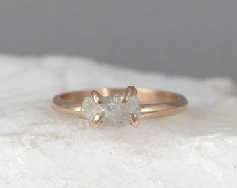 Raw Uncut Rough Diamond Engagement Ring - 14K Rose Gold-Rough Diamond Gemstone Ring -April Birthstone-Anniversary Ring-Conflict Free-Ethical