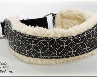 "Dog collar ""WINTER"" , Martingale, natural / black"